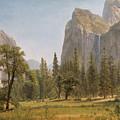 Bridal Veil Falls Yosemite Valley California by Albert Bierstadt