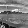 Bridge And Sea Black And White by Sierra Vance