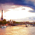 Bridge Of Alexandre IIi And Eiffel At Violet Sunset by Anastasy Yarmolovich