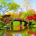 Bridge With Red Bushes In Spring by Susanna Katherine