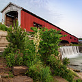 Bridgeton Covered Bridge - Indiana Square Art by Gregory Ballos