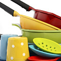 Bright Colorful Modern Kitchen Pot And Pans  by Milleflore Images