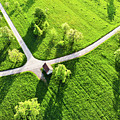Bright Green Spring Meadow Aerial Photo by Matthias Hauser