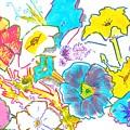 Bright Petunias Flowers Pattern by Mike Jory