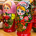 Bright Russian Matrushka Puzzle Dolls by John Williams