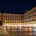 Brightly Lit Midnight - Plaza Mayor In Madrid Spain by Georgia Mizuleva