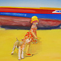 Brightly Painted Wooden Boats With Terrier And Friend by Charles Stuart
