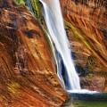 Brilliant Colored Walls Of Utah's Lower Calf Creek Falls. by Larry  Geddis