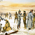 British And German Soldiers Hold A Christmas Truce During The Great War by Angus McBride