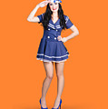 British Navy Blue Pin Up Girl Saluting by Jorgo Photography - Wall Art Gallery