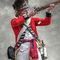 British Redcoat Firing Musket Portrait  by Randy Steele