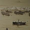 British Warships In Malta Harbour 1941 by Tony Calleja