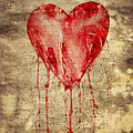 Broken And Bleeding Heart On The Wall by Michal Boubin