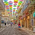 Brollies Over Jerusalem by Uri Baruch