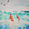 Brooke And Carey In The Shore Break by Tom Harris
