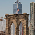 Brooklyn Bridge And One World Trade Center In New York City  by David Oppenheimer