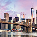 Brooklyn Bridge And Skyline At Sunrise, New York, Usa by Matteo Colombo
