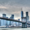 Brooklyn Bridge And The Lower Manhattan Financial District by Allen Beatty
