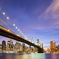 Brooklyn Bridge And The Manhattan Skyline by Justin Foulkes