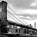 Brooklyn Bridge At Dusk In Black And White by Carlos Alkmin