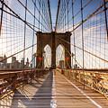 Brooklyn Bridge At Sunset, New York, Usa by Matteo Colombo