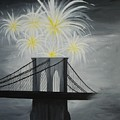 Brooklyn Bridge Fireworks by Emily Page