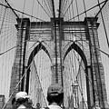 Brooklyn Bridge In Black And White by Nadia Asfar