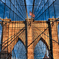 Brooklyn Bridge In The Golden Light by Val Black Russian Tourchin