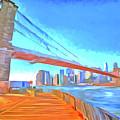 Brooklyn Bridge New York Pop Art by David Pyatt