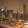 Brooklyn Bridge Night Sky by Wilko Van de Kamp