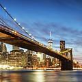 Brooklyn Bridge Panoramic At Night, New York, Usa by Matteo Colombo