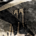 Brooklyn Bridge Reflection Abstract by Jeff Watts