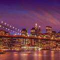 Brooklyn Bridge Sunset - Panorama by Melanie Viola