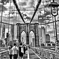Brooklyn Bridge Walkway   B  And  W by Allen Beatty