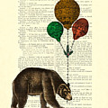 Brown Bear With Balloons by Madame Memento
