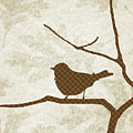 Brown Bird Silhouette Modern Bird Art by Christina Rollo