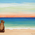 Brown Lab Dog On The Beach by Robyn Saunders