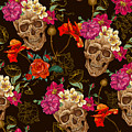 Brown Skulls And Flowers by Long Shot