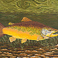 Brown Trout Fish Art Print Touch Down Brown Trophy Size Football Shape Brown Trout Angler Angling by Baslee Troutman