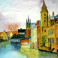 Brugge Belgium Canal by Larry Hamilton