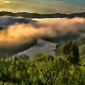 Brugneto Lake Dawn With Clouds - Alba Sul Lago Del Brugneto P by Enrico Pelos
