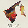 Brunei Watercolor Map by Design Turnpike