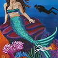 Brunette Mermaid With Turquoise Tail by Ashley Baldwin