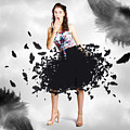 Brunette Pin-up Woman In Gorgeous Feather Skirt by Jorgo Photography - Wall Art Gallery