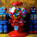 Bubblegum Machine And Two Robots by Garry Gay
