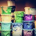 Buckets Of Liquid Paint Standing In A Workshop. by Michal Bednarek