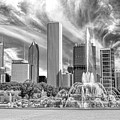 Buckingham Fountain Skyscrapers Black And White by Christopher Arndt