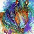 Bucky The Mustang In Watercolor by Marcia Baldwin