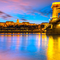Budapest - Chain Bridge And Buda Castle -  Hungary by Luciano Mortula