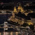 Budapest View At Night by Jaroslaw Blaminsky